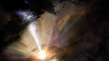 Так художник представил себе облака газа, проливающиеся холодным дождем на черную дыру