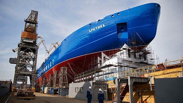 Головной атомный ледокол проекта 22220 на верфи ООО Балтийский завод — Судостроение в Санкт-Петербурге