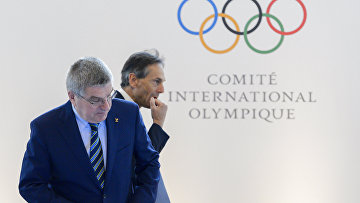 Президент Международного олимпийского комитета Томас Бах на пресс-конференции в Лозанне