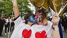Сторонницы членства Великобритании в Евросоюзе у арены Уэмбли в Лондоне
