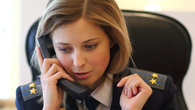 Прокурор Крыма Наталья Поклонская в своем рабочем кабинете в Симферополе. Архивное фото