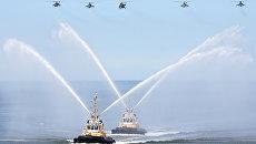 Корабли и авиация Балтийского флота во время генеральной репетиции военно-морского парада