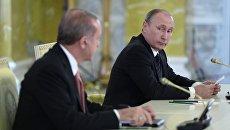 Президент России Владимир Путин и президент Турции Реджеп Тайип Эрдоган. Архивное фото