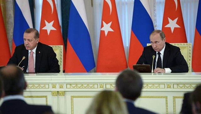 Il presidente russo Vladimir Putin e il suo omologo turco Recep Tayyip Erdogan ha detto in una conferenza stampa a seguito dei negoziati russo-turca presso il Palazzo di Costantino