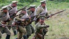 Участники исторической реконструкции военного столкновения на восточном фронте Первой мировой войны, проходящей в рамках военно-исторического фестиваля Гумбинненское сражение