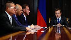 Премьер-министр РФ Дмитрий Медведев на совещании в резиденции Горки. 23 августа 2016