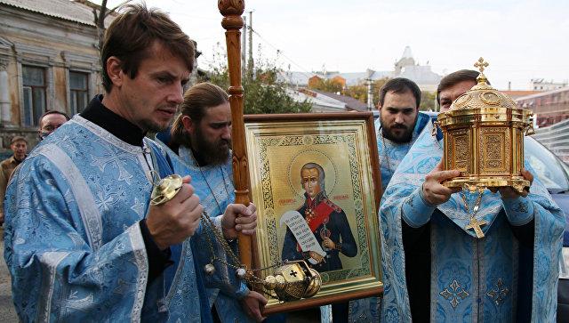 Мощи адмирала Ушакова опоздали вМорской храм из-за дорожно-траспортного происшествия