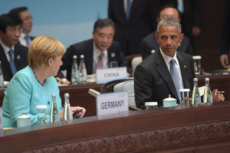 German Chancellor Angela Merkel and US President Barack Obama before the start of the first working meeting of the heads of delegations of States Parties Twenty G20 Group invited States and international organizations in Hangzhou