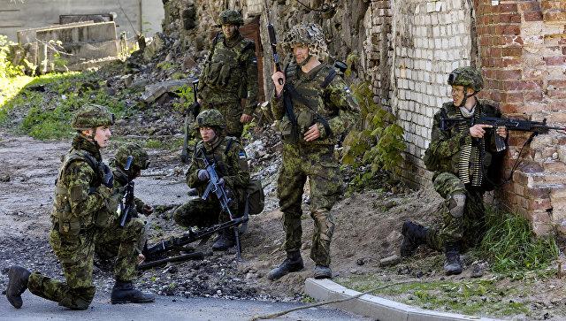 Силы обороны Эстонии совместно с союзниками НАТО во время военных учений. Архивное фото