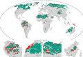 Карта потерянных (красный) и ныне существующих (зеленый) зон дикой природы