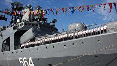 Прибытие российского корабля в порт города Чжаньцзян для участия в учениях Морское взаимодействие-2016