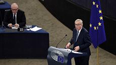 Председатель Еврокомиссии Жан-Клод Юнкер во время выступления на пленарной сессии Европарламента в Страсбурге