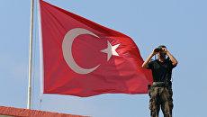 Турецкий военный на фоне флага. Архивное фото