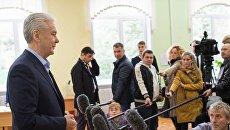 Мэр Москвы Сергей Собянин на избирательном участке № 90 в Москве