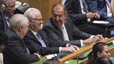 Министр иностранных дел России Сергей Лавров на заседании Генеральной ассамблеи ООН в Нью-Йорке
