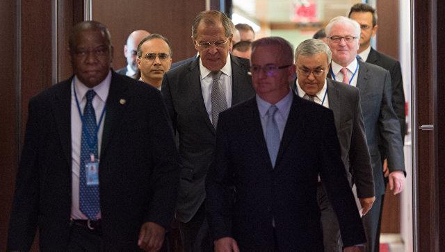 Глава МИД РФ Сергей Лавров перед встречей по Ближнему Востоку в штаб-квартире ООН
