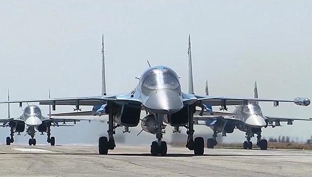 Вылет самолетов ВКС России с авиабазы Хмеймим. Архивное фото