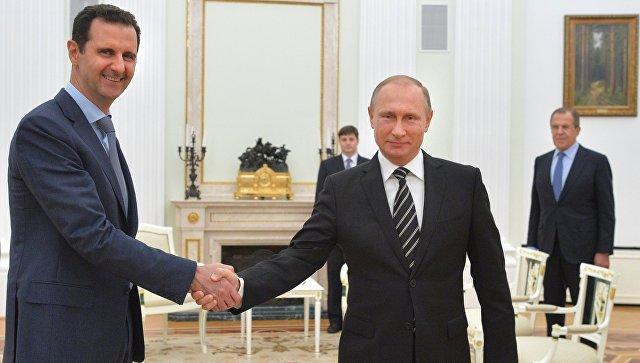 Президент России В.Путин и президент Сирии Б.Асад. Архивное фото
