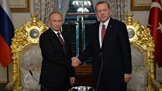 Президент РФ Владимир Путин и президент Турции Реджеп Тайип Эрдоган во время встречи в Стамбуле