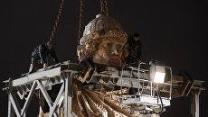 Монтаж 16-метрового памятника Святому равноапостольному князю Владимиру на Боровицкой площади в Москве