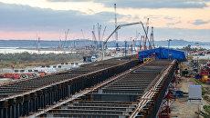Строительство Крымского моста на острове Тузла