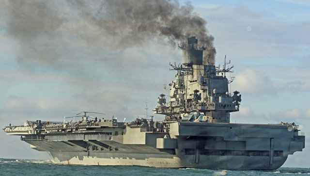 Фрегат итри истребителя сопровождают вЛа-Манше «Адмирала Кузнецова»