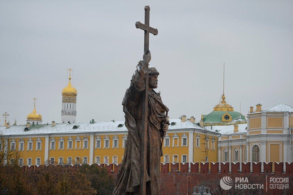 Открытие памятника князю Владимиру в Москве 4 ноября 2016