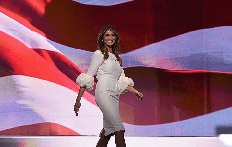 Меланья Трамп во время первого дня Национального съезда Республиканской партии