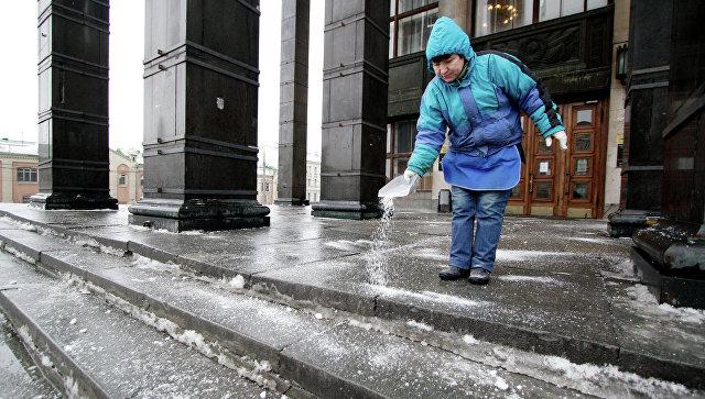 Гололед в Москве. Архивное фото