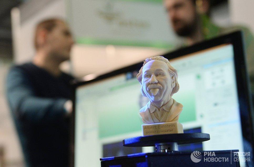 Бюст Альберта Энштейна на выставке 3D Print Expo 2016 в Москве