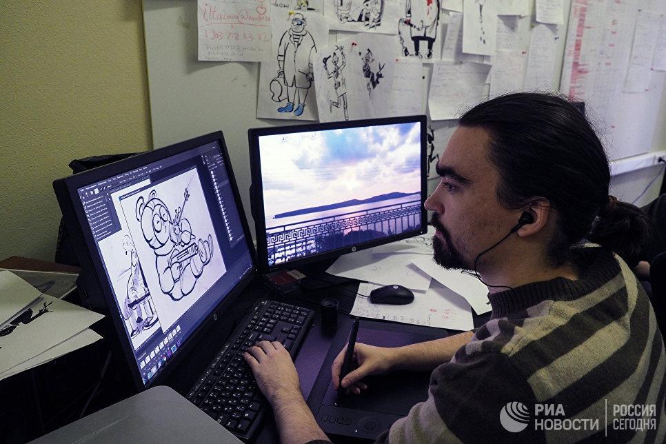 Работа над мультипликаионным фильмом Маршрутка на киностудии Союзмультфильм
