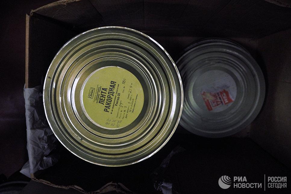 Коробки с ракордной лентой на киностудии Союзмультфильм