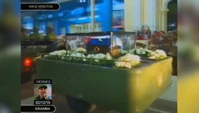 Кортеж с прахом Кастро проехал по улицам Баямо под звуки гимна Кубы