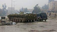 Бронетехника в освобожденном квартале восточного Алеппо. Архивное фото