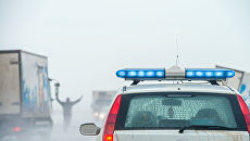 Машина полиции на месте ДТП. Архивное фото
