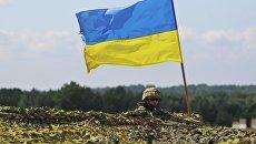Украинский военный на учениях во Львовской области. Архивное фото