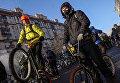 Участники Второго зимнего Московского Велопарада перед заездом