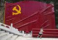 Ребенок на фоне флага Коммунистической партии Китая. 2016 год