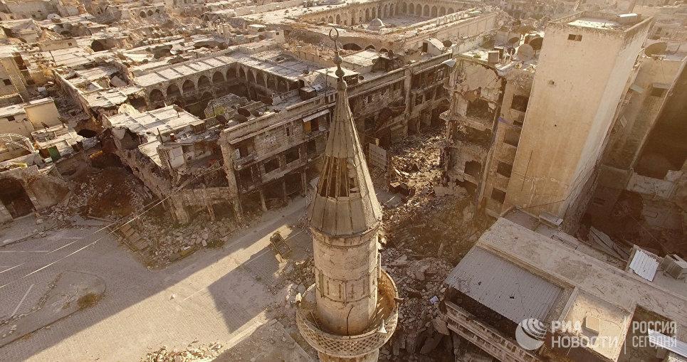 Восточные кварталы Алеппо, захваченные боевиками. Сирия, 03.09.2016