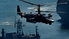 Вертолет огневой поддержки Ка-52 Аллигатор во время двухсторонних учений на полигоне Клерк. Архивное фото