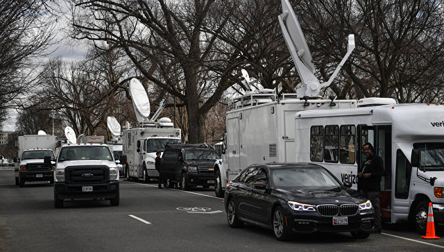 Auto società televisive sul National Mall di Washington, DC