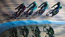 Спортсмены на Международных трековых соревнованиях Мемориал Лесникова на велотреке Крылатское. Архивное фото
