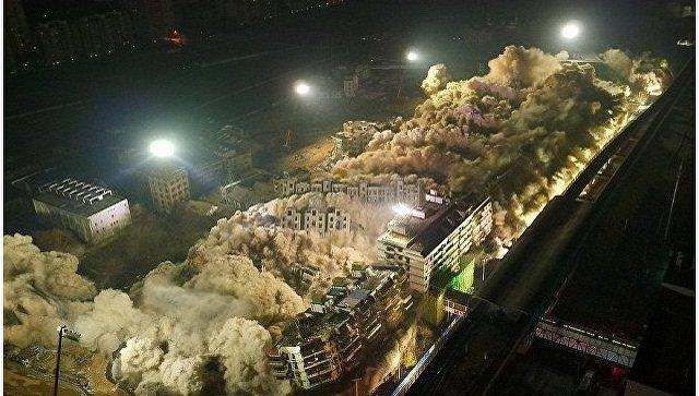 В Китае 19 зданий взорвали за 10 секунд