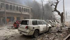 Последствия взрыва у отеля Dayah в Могадишо, Сомали. 25 января 2017