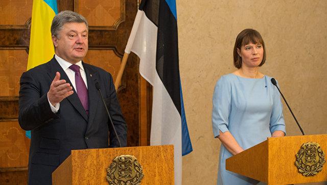Президент Уукраины Петр Порошенко и президент Эстонской Республики Керсти Кальюлайд на совместной пресс-конференции в Таллине. 23 января 2017