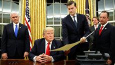 Президент США Дональд Трамп в Овальном кабинете Белого дома в Вашингтоне. Архивное фото