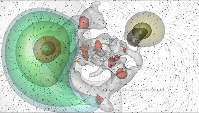 Схема движения нашей Галактики (в центре) в сторону Великого Аттрактора и от Великого Отталкивателя