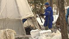 Космонавты разожгли костер и вызвали помощь на учениях в лесу