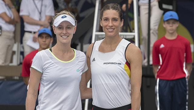 Андреа Петкович и Элисон Риске на теннисном матче теннисного Кубка Федерации между женскими сборными США и Германии в Лахайне
