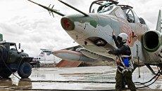 Подготовка штурмовика Су-25 ВКС России на авиабазе Хмеймим. Архивное фото